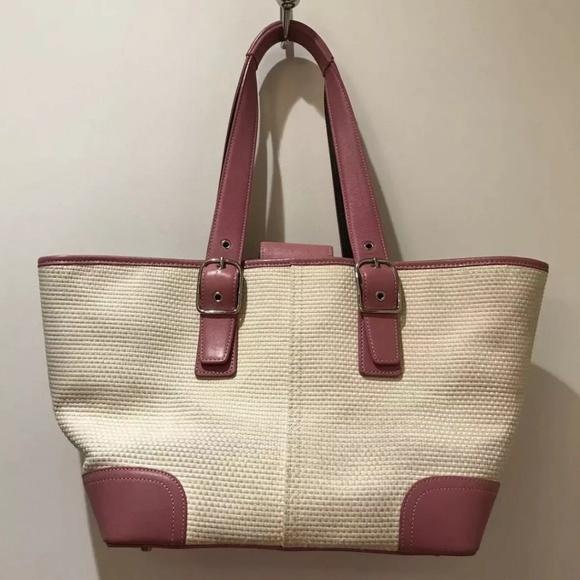 Coach Handbags - Coach Cream Weaved Pink Leather Tote Bag